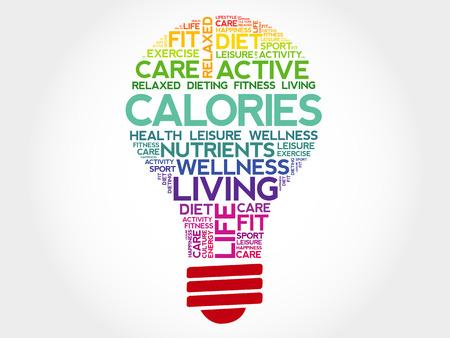 regime: CALORIES bulb word cloud, health concept