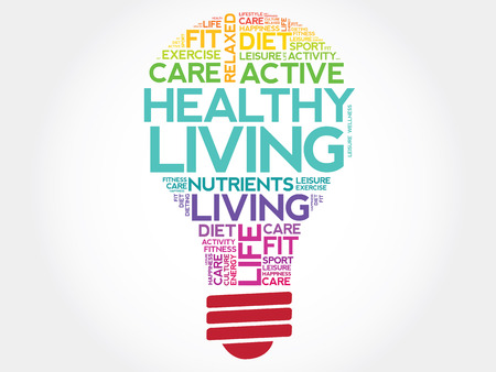 Healthy Living bulb word cloud, health concept Çizim