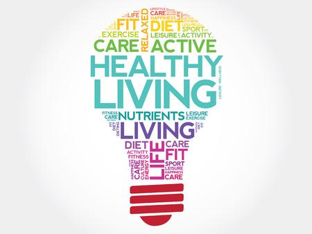 health concept: Healthy Living bulb word cloud, health concept Vectores