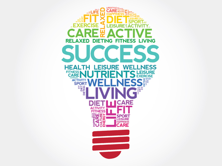health concept: SUCCESS bulb word cloud, health concept