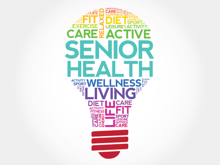 losing memory: Senior health bulb word cloud, health concept Illustration