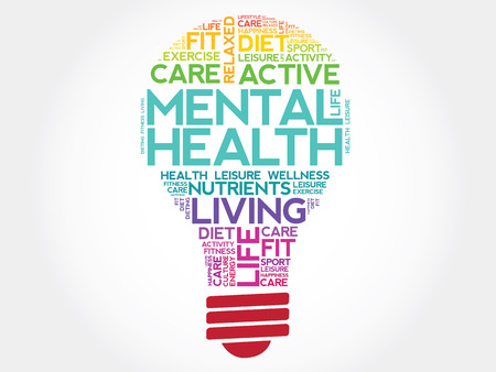 Mental health bulb word cloud, health concept Stock Illustratie