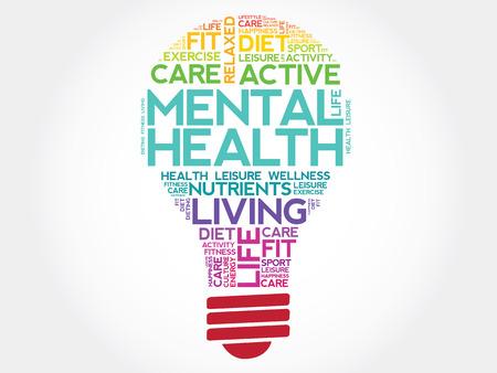 Psychische Gesundheit Glühbirne Wortwolke, Gesundheitskonzept