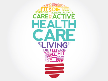 surgery expenses: Health care bulb word cloud, health concept