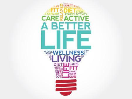 良い生活電球単語の雲、健康概念