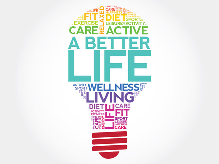 life change: A Better Life bulb word cloud, health concept