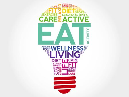 increase fruit: EAT bulb word cloud, health concept Illustration