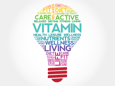 ascorbic: VITAMIN bulb word cloud, health concept