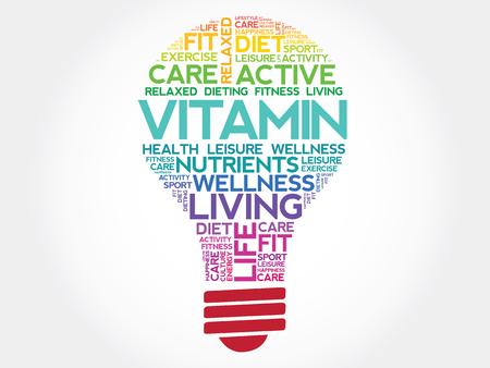 ascorbic: VITAMIN bulb word cloud, health concept