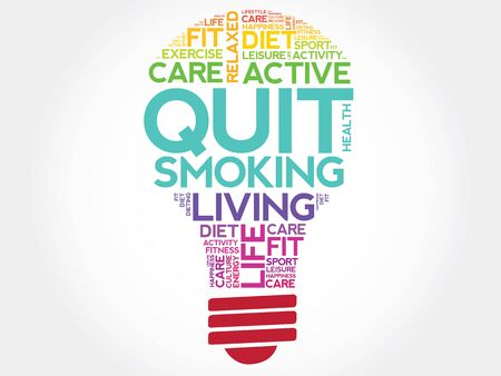 nicotine patch: Quit Smoking bulb word cloud, health concept
