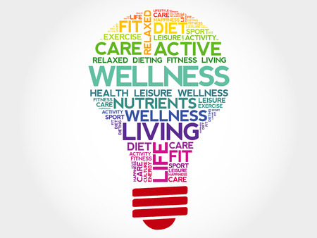 WELLNESS bulb word cloud, health concept
