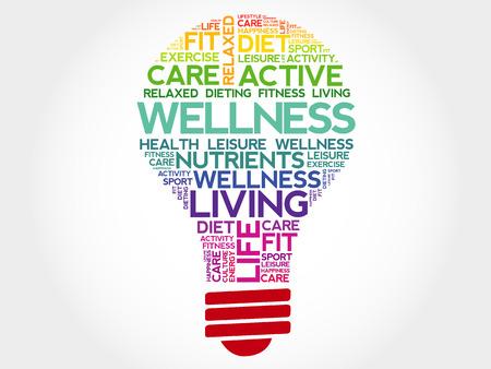 WELLNESS bulb word cloud, health concept Stock Vector - 45708746