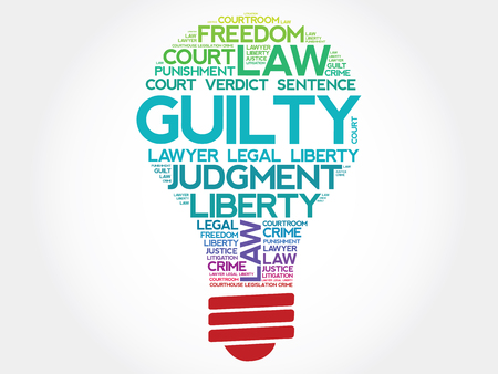 convicted: Guilty bulb word cloud concept