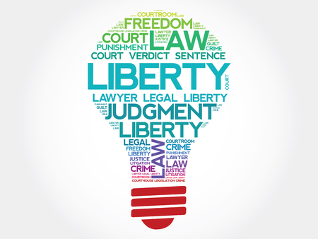 declaration of independence: Liberty bulb word cloud concept Illustration
