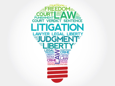 Litigation bulb word cloud concept