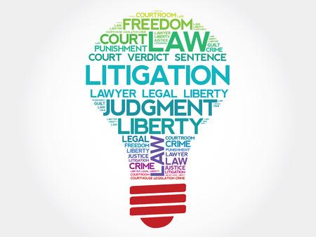 judicial system: Litigios bombilla concepto de nube de palabras