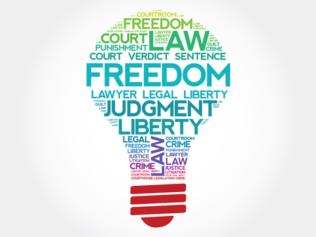 suffrage: Freedom bulb word cloud concept