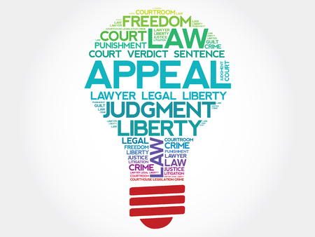 to sue: Appeal bulb word cloud concept