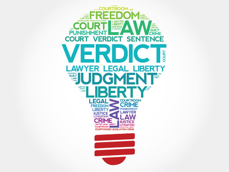 impartial: Verdict bulb word cloud concept