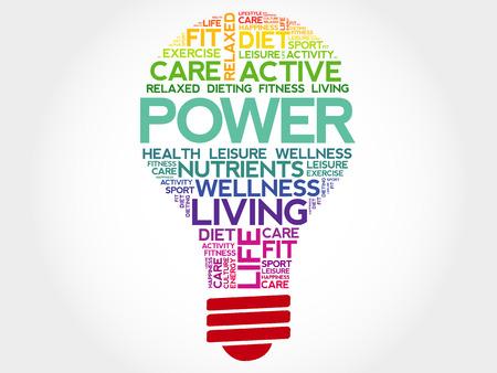 health concept: POWER bulb word cloud, health concept Vectores