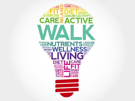 regiment: WALK bulb word cloud, health concept