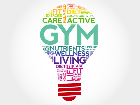 health concept: GYM bulb word cloud, health concept