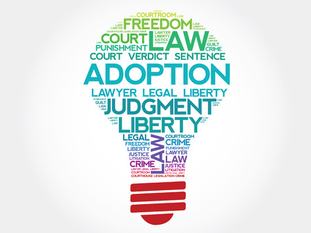 adoption: Adoption bulb word cloud concept