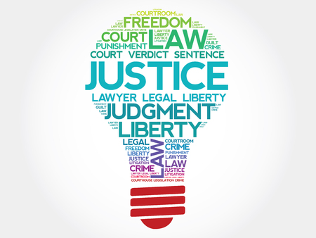 courts: Justice bulb word cloud concept