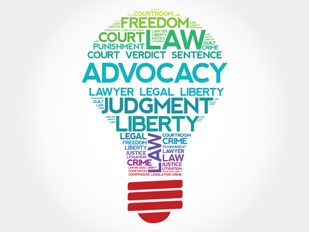 courthouse: Advocacy bulb word cloud concept
