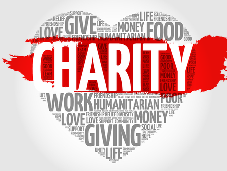 donating: Charity word cloud heart concept