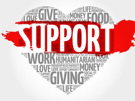 apoyo social: Soporte nube de palabras, el concepto de corazón Vectores