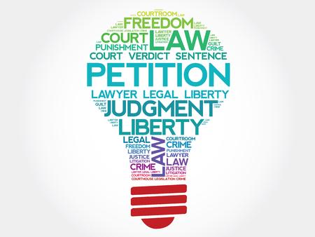 represent: Petition bulb word cloud concept
