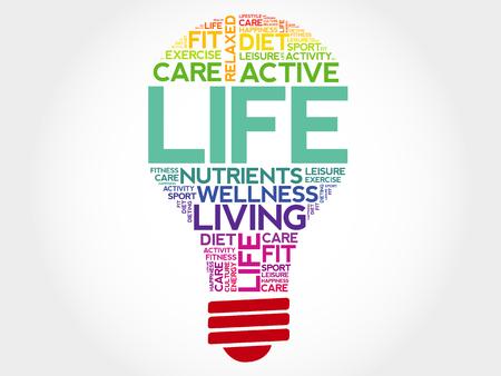 health concept: Life bulb word cloud, health concept
