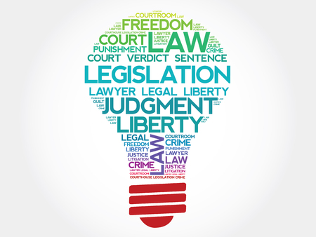 legislation: Legislation bulb word cloud concept Illustration