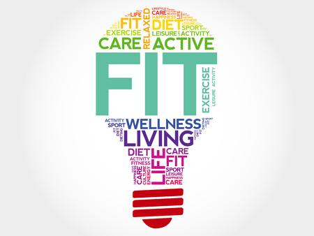 fit: Fit palabra bombilla de nube, concepto de salud