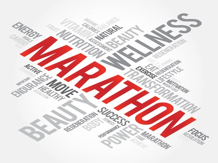 intermediate: MARATHON word cloud, fitness, sport, health concept Illustration