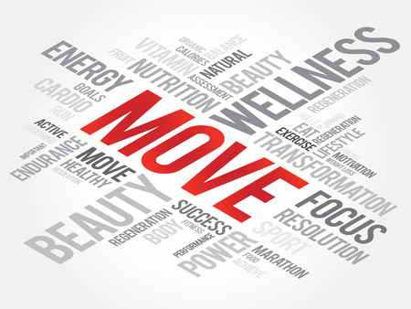 health concept: MOVE word cloud, fitness, sport, health concept