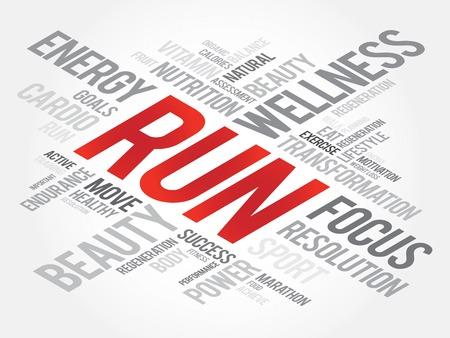 health concept: RUN word cloud, fitness, sport, health concept Vectores
