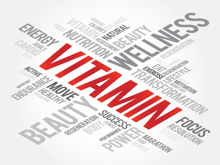 chain reaction: VITAMIN word cloud, fitness, sport, health concept