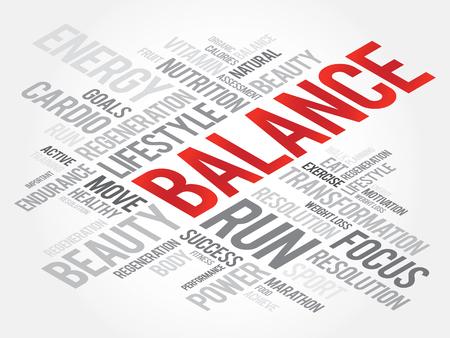 BALANCE word cloud, fitness, sport, health concept Illustration