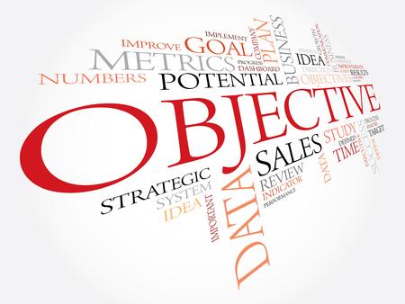 Objetivo nube de la palabra, concepto de negocio