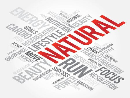 health concept: NATURAL word cloud, fitness, sport, health concept