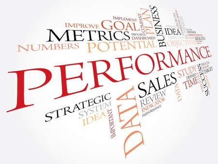 パフォーマンス: Performance word cloud, business concept