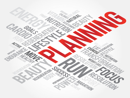 health concept: Planning word cloud, fitness, sport, health concept Vectores