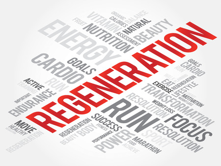 cure: Regeneration word cloud, health cross concept Illustration