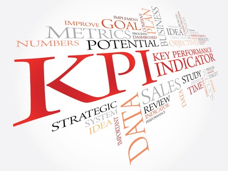 metrics: KPI - Key Performance Indicator word cloud, business concept Illustration