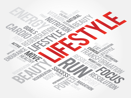 health concept: LIFESTYLE word cloud, fitness, sport, health concept Vectores