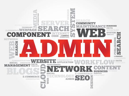 ADMIN: ADMIN word cloud, security concept Illustration