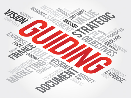 guiding: Guiding word cloud, business concept Illustration