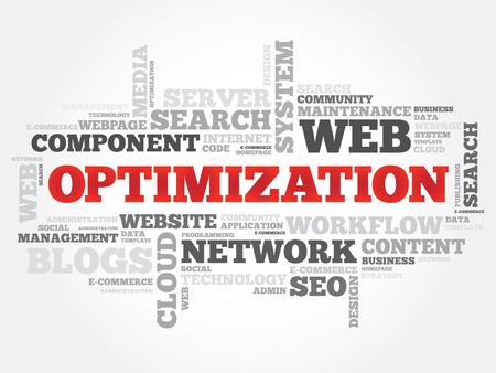 optimize: OPTIMIZATION word cloud, business concept